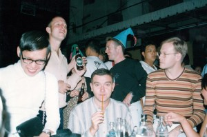 Philip (right) with Pepsi, Steven Pettifor and Craig Knowles in Silom Soi 4 in 1994